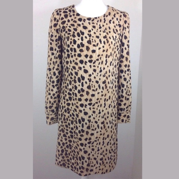 58180c3f8389 🎈MERONA Long Sleeve Cheetah Print Shift Dress. M_5ac31ce400450f34add9a3eb